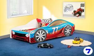 Patut Nobiko Drive 140 x 70 cu saltea rosu-albastru 7