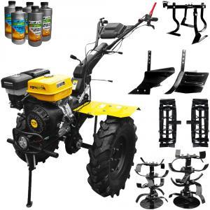 Motocultor Profesional AgroPro HS 1100D, motor 18 CP + roti metalice + plug arat + rarita + prasitoare + remorca + uleiuri