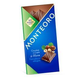 Ciocolata cu lapte si alune Monteoro Fara Zahar - 90g