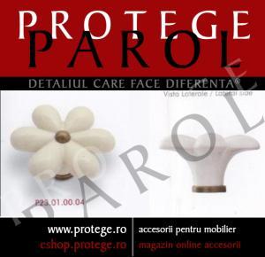 Buton floare  P23.01.00.04, portelan avorio, fara model, 62/34