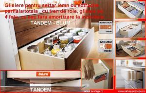 Glisiere TANDEM-BLUM +cuplaje, 30kg extragere totala