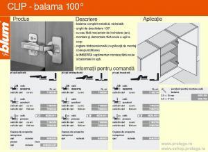 Balama Blum-Clip 100 grade+placuta montaj in cruce cu eurosuruburi, inaltare 0, pentru usa aplicata