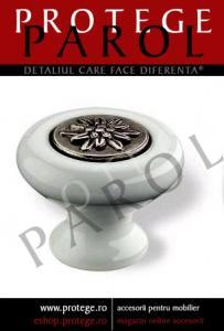 Buton portelan alb cu insertie argint antic, S.SP36-38ZN29