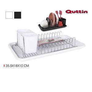 Uscator vesela cu tava scurgere, design minimalist Quttin-alb