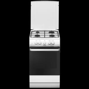 Aragaz Hansa FCGW510009D, pe gaz, latime 50 cm, 4 arzatoare, grill, iluminare, gratar emailat, capac de metal, alb