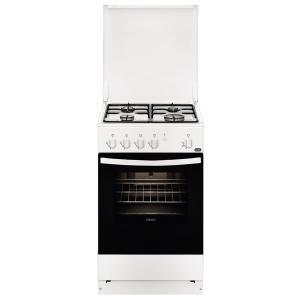 Aragaz Zanussi ZCG610G1WA, gaz, 50 cm, 4 arzatoare, grill, iluminare, emailat, capac metal, alb