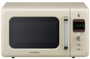 Cuptor cu microunde Daewoo KOR-6LBRC, capacitate 20 litri, 5 nivele de putere, control electronic, timer, display digital, functie de dezghetare, bej retro