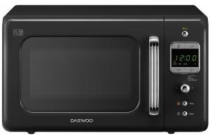 Cuptor cu microunde Daewoo KOR-6LBRB, capacitate 20 litri, 5 nivele de putere, control electronic, timer, display digital, functie de dezghetare, negru retro
