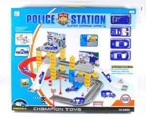 Statie de POLITIE cu 4 masinute pentru baieti - Circuit de jucarie copii