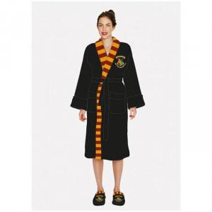 Halat Harry Potter Hogwarts Ladies Black Fleece Robe With Scarf Detail No Hood