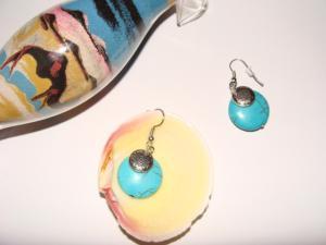 Cercei turcoaz (pietre semipretioase)