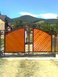 Poarta din lemn cu decoratiuni din fier forjat