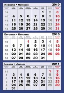 Calendar triptic 2 culori