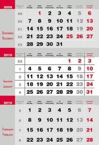 Calendar triptic 3 culori