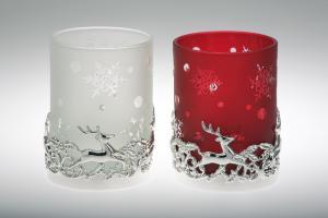 Suport lumanare decor tip pahar alb cu reni 7 cm