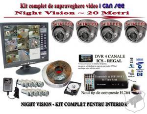 Sistem supraveghere video - 4 camere interior - manopera inclusa