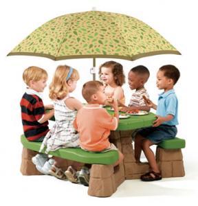 Masa picnic, cu umbrela