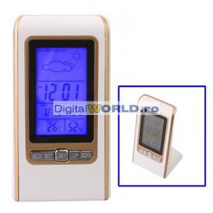 Statie meteo cu ceas, termometru, higrometru si prgnoza vremii