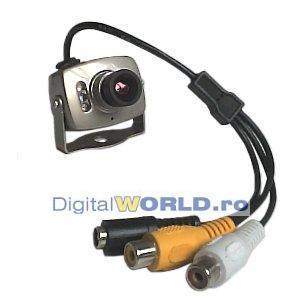 Camera supraveghere miniatura cu microfon si LED-uri infrarosu, night vision spy