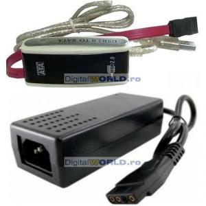 Adaptor (cablu) de la USB la SATA, pentru HDD 3.5 si 2.5 inch, cu alimentator inclus