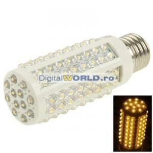 Bec super-economic 108 LED-uri, consum 5W, echivalent 60W, lumina alba calda
