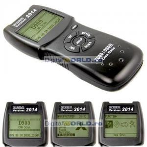 Tester auto profesional D900, Scaner OBD2 interfata diagnoza, scanner universal parametri si diagnosticare erori motor, DTC reader fault codes OBD II si CAN-BUS