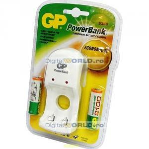 Incarcator GP PowerBank S360 pentru AA R6 si AAA R3 + 2 acumulatoare NiMh 2100mAh