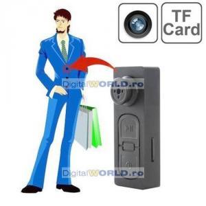Camera video spion miniatura tip nasture, control prin vibratie, spy