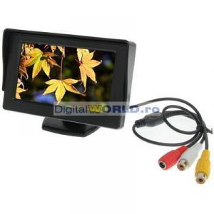 Monitor LCD 11cm, 4.3 inch, pentru utilizare auto marsarier sau cu camere supraveghere