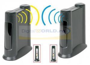 Video sender wireless (transmitator audio-video, radio link) cu senzor telecomanda