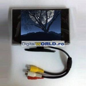 Monitor LCD 9cm, pentru utilizare auto marsarier sau cu camere supraveghere