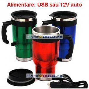 Cana termoizolanta cu incalzire USB sau bricheta auto, termos pentru bauturi