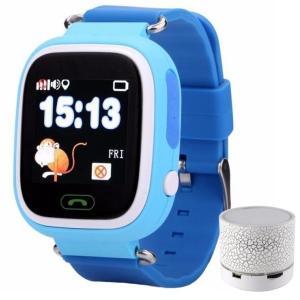 Ceas Smartwatch cu GPS Copii iUni Kid100, Touchscreen, BT, Telefon incorporat, Buton SOS, Blue + Boxa Cadou