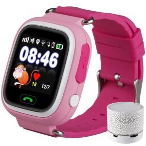 Ceas Smartwatch cu GPS Copii iUni Kid100, Touchscreen, BT, Telefon incorporat, Buton SOS, Pink + Boxa Cadou