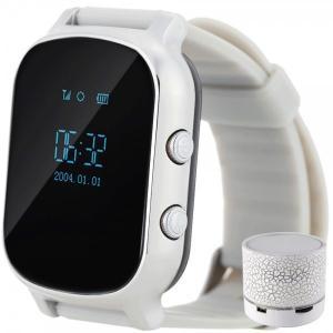 Ceas Smartwatch cu GPS Copii si Adulti iUni Kid58, Telefon incorporat, LBS, Wi-Fi, Silver + Boxa Cadou