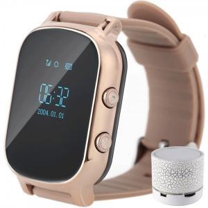 Ceas Smartwatch cu GPS Copii si Adulti iUni Kid58, Telefon incorporat, LBS, Wi-Fi, Gold + Boxa Cadou