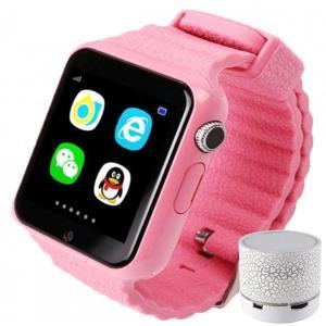 Smartwatch cu GPS Copii si Seniori iUni V8K, Pedometru, Touchscreen 1.54' BT, Notificari, Camera, Pink + Boxa