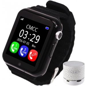 Smartwatch cu GPS Copii si Seniori iUni V8K, Pedometru, Touchscreen 1.54 BT, Notificari, Camera, Black + Boxa
