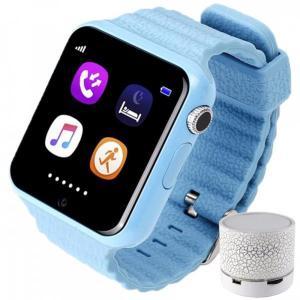 Smartwatch cu GPS Copii si Seniori iUni V8K Pedometru, Touchscreen 1.54' , BT, Notificari, Camera, Blue + Boxa