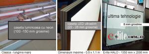 Caseta luminoasa ultrasubtire E-lite HALO EH4 (A2) - ultima tehnologie pentru panou luminos ultrasubtire 10 mm grosime dubla fata