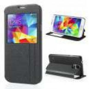 Huse Husa Flip Cu Stand Si Fereastra Samsung SM-G900I Textura Nisip Neagra