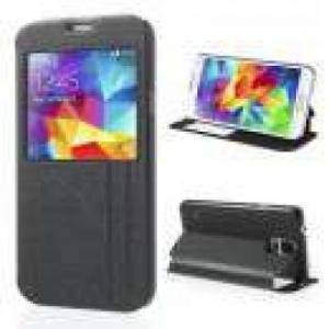 Huse Husa Flip Cu Stand Si Fereastra Samsung SM-G900L Textura Nisip Neagra