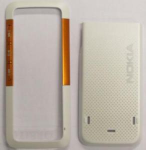Carcase Carcasa Nokia 5310 alb+orange originala fata+capac baterie n/c 253506,253511