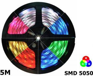 LED Strip 5M RGB SMD5050 60 LED/M set complet IP65 AL966