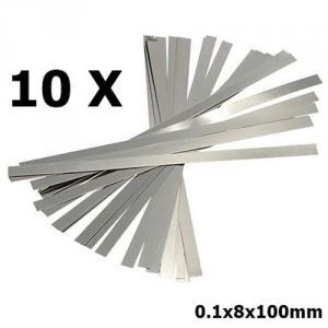 10x 0.1x8x100mm Nickel Plated Steel Battery Strap Strip AL400