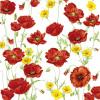 Servetele 33x33cm 3 straturi set20 maci/flori galbene