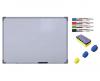 Pachet Tabla alba magnetica, 90x150 cm Premium + accesorii: markere, burete, magneti