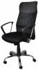 Scaun de birou, brate metalice, rotile, mesh textil/piele ecologica, Office Products Corfu - negru