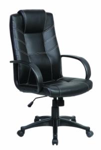 Scaun de birou, brate plastic, rotile, piele ecologica, Office Products Corsica - negru
