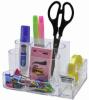 Suport plastic pentru accesorii de birou, 7 compartimente, 168 x 78mm,